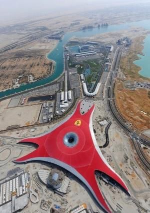 Ferrari World is an amusement park located on Yas Island in Abu Dhabi, United Arab Emirates.  It claims to be the largest indoor theme park in the world.  Formula Rossa, the world's fastest roller coaster, is located there.  Ferrari World covers an area of 86,000 square metres.  Photo: indulgy.com