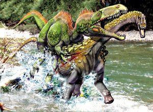 Luis Rey Dinosaurs | Megaraptor attacking a small titanosaur by Luis V. Rey
