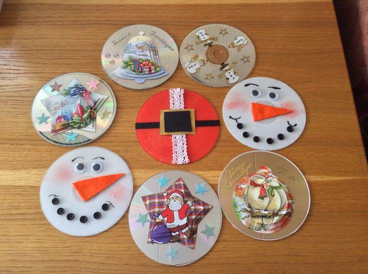 Kerstkaarten van oude CD'S