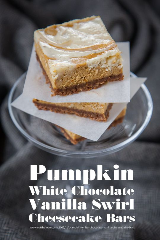 Pumpkin White Chocolate Vanilla Swirl Cheesecake Bars #Recipe by Irvin ...