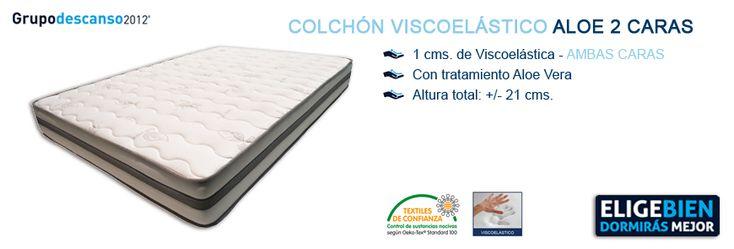 Colchón Viscoelástico ALOE 2 CARAS - http://colchonesvisco.net/colchones/colchones-viscoelasticos/colchon-viscoelastico-aloe-2-caras/