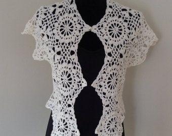 Bolero - white cotton with button.