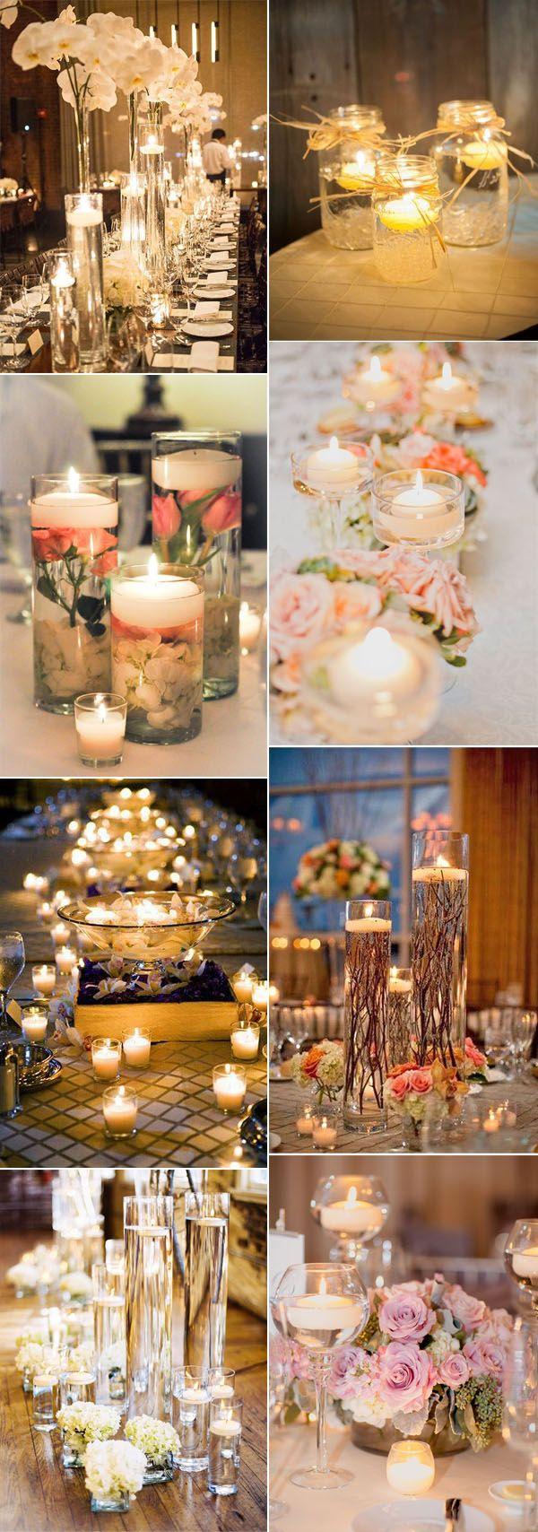 romantic floating candle lights wedding decor ideas