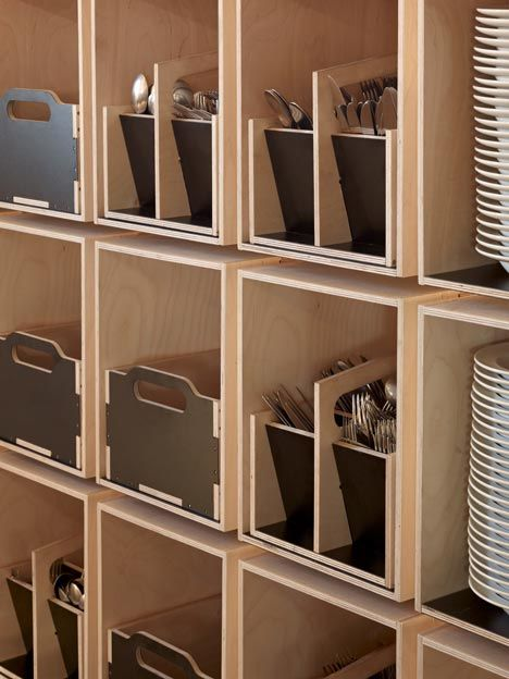 Plywood Box Shelving in the Noma FoodLab by 3XN