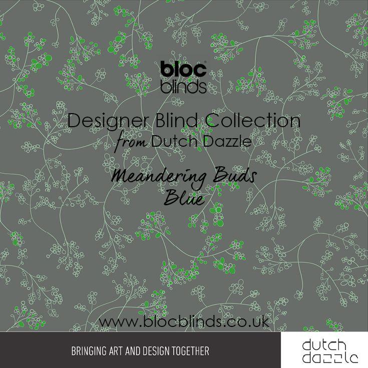 'Meandering Buds Green' Designer Blind Fabric. Order Made to Measure Designer Blinds Online. Made in the UK. Award Winning Innovation. Be Inspired. www.blocblinds.co.uk