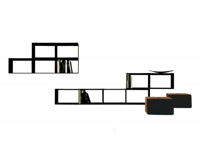 Libreria khao.. pensata da Xam per la casa. Particolarmente adattabile in tutte le stanze della casa. Le librerie sono componibili e modulabili, la parte interna è rivestita in metallo. Di colore bianco e nero.