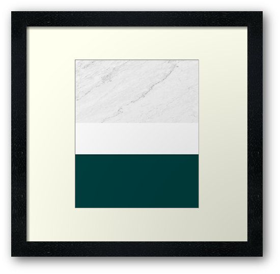 Marble and Teal Framed Art Print by ARTbyJWP from Redbubble #marble #teal #artprints #buyart #framedart  ---    Minimal photo collage of marble texture and bold teal and white colors in stripes. • Also buy this artwork on wall prints, apparel, stickers, and more.