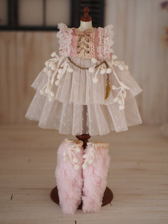 Blythe dress. 3 item set Fur Boots Sweet rose by HakoniwaDolls
