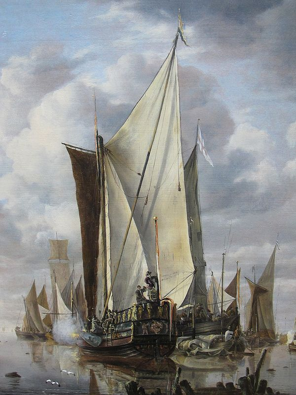 """""""Shipping in a Calm at Flushing, with a States General Yacht Firing a Salute"""", by Jan van de Cappelle, 1649"""