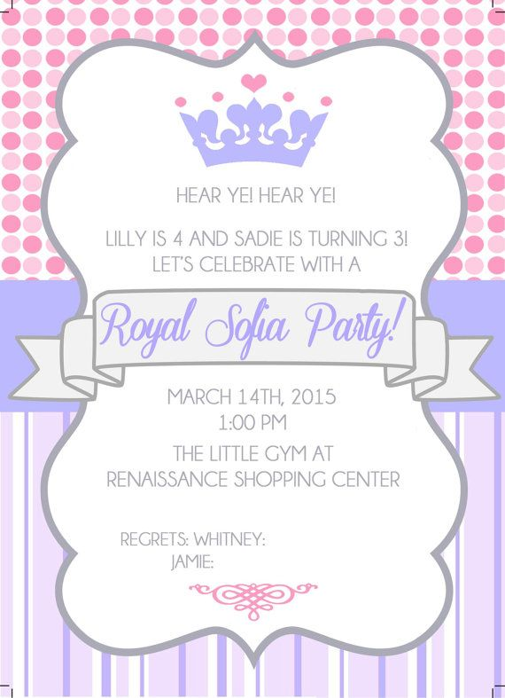 PRINCESS SOFIA PARTY Invitation Front and by JWHcreativestudio