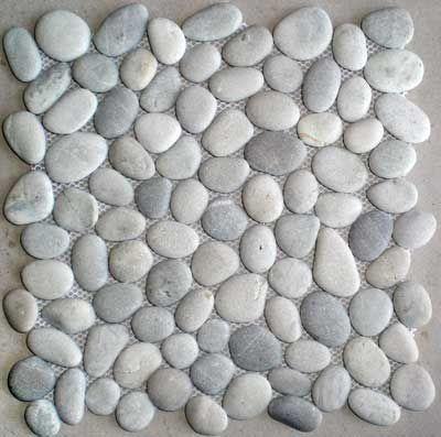 grey pebble tile | tan grey mosaic pebble stone wall floor tile