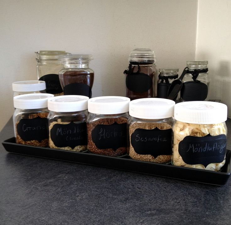 Kitchen jars - decorated  Nutella jars, kitchen, Jar organizer - Chalkboard Label :)