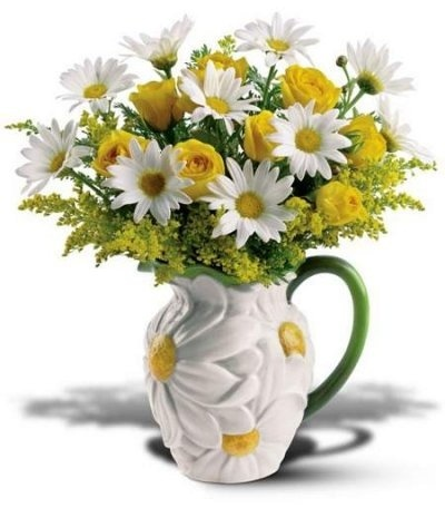 Bright Yellow and White flowers in a vase; home and garden; interior decor