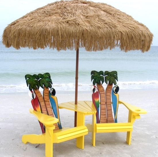 Tropical Adirondack chairs by Island Time Design. Featured on Beach Bliss Living.