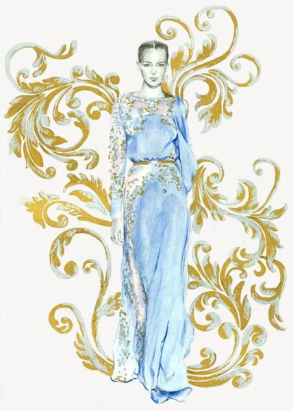 This is an illustration from Elie Saab's Fall 2012 couture line. I loved the soft, pastel colors in the line and I love how they are translated onto paper.