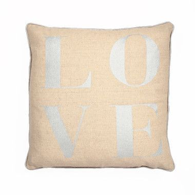 "LOVE"""" Typography Throw Pillow in Metallic Silver"