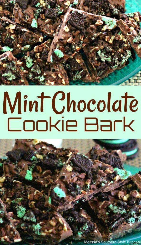 Mint Chocolate Cookie Bark #chocolate #cookiebark #candy #holdays #holidayrecipes #holidaygifts #christmas #sweets #desserts #dessertfoodrecipes #dessertrecipes #recipes #food #mint