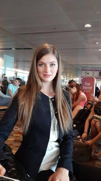 Miss World Ukraine 2013 Anna Zayakovskaya at the airport before departing for Indonesia
