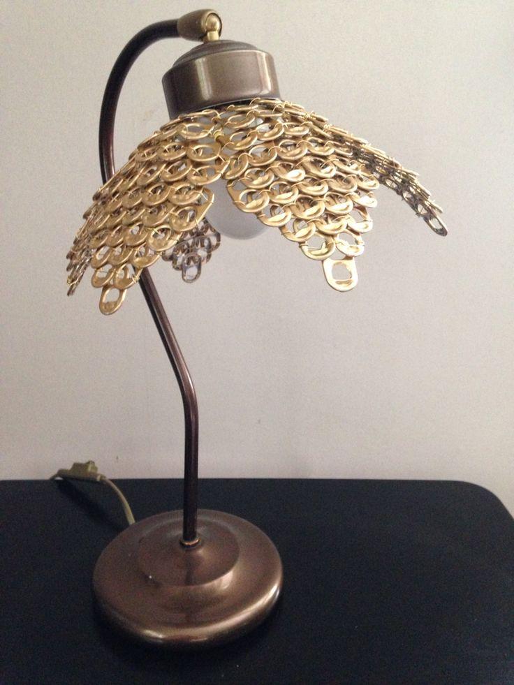 DIY lamp shade made from soda tabs