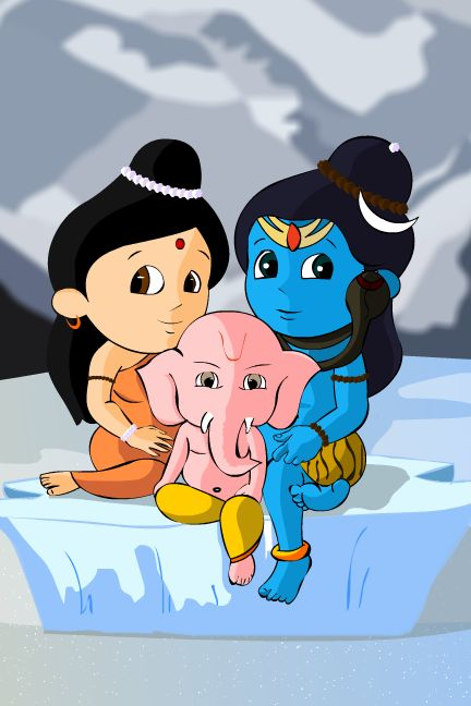 Sooooo cute  Lord Shiva with Shree Ganesh and Mata Parvati !! Jai ho ! Follow me on Pinterest : @aditiaadi912