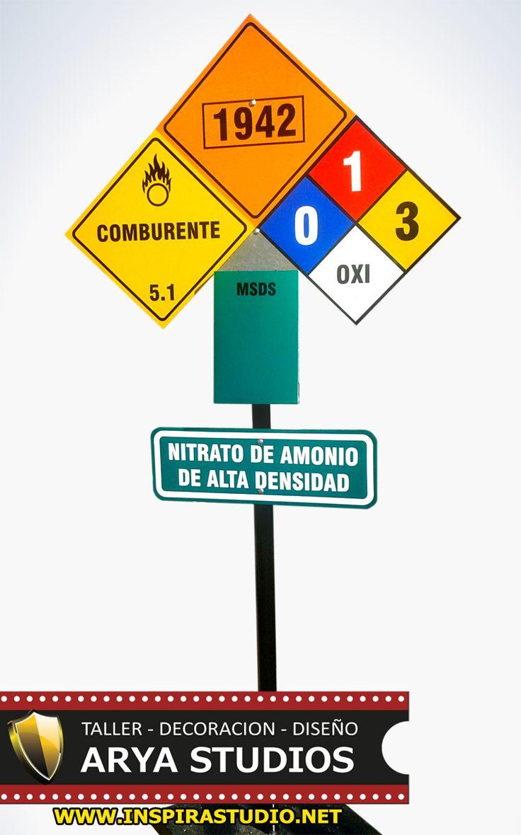 """Letrero Reconocimiento de Material """"Nitrato de Amonio"""" - UN 1942 (Comburente) Rombo NFPA Con 3º Radiactividad y 1º Inflamabilidad - Oxidante..."""