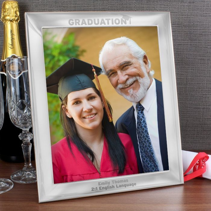 Commemorate their graduation by framing their photograph or certificate in this stunning photo frame Personalise this silver 10x8 Graduation Photo