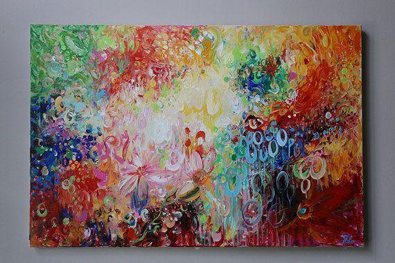 abstracto colorido, rojo pintura abstracta, modean, pintura acrílica. Pintura de acrílico sobre lienzo, arte de la pared, decoración casera, original