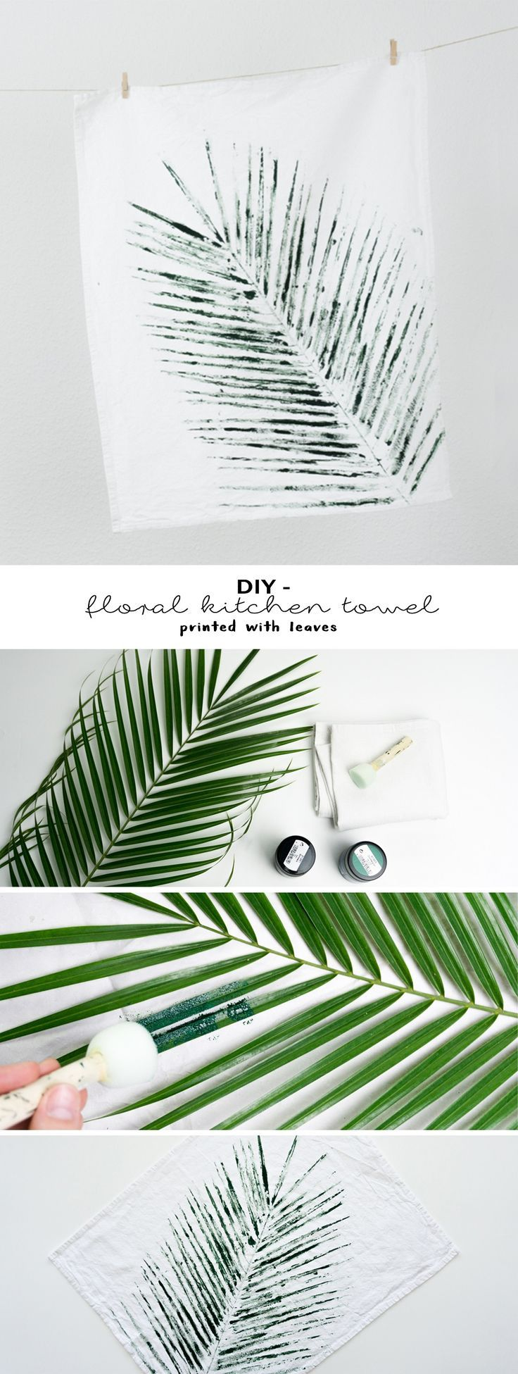 schereleimpapier: DIY Tutorial Geschirrtücher bedrucken mit Blättern | Do it yourself | Deko basteln | Urban Jungle | Palmblatt | kreative Ideen für die Küche | Geschenke | selber machen | bedrucken | Druck mit Pflanzen | kreative Anleitung auf dem Blog | DIY floral kitchen towel printed with leaves | crafting with plants