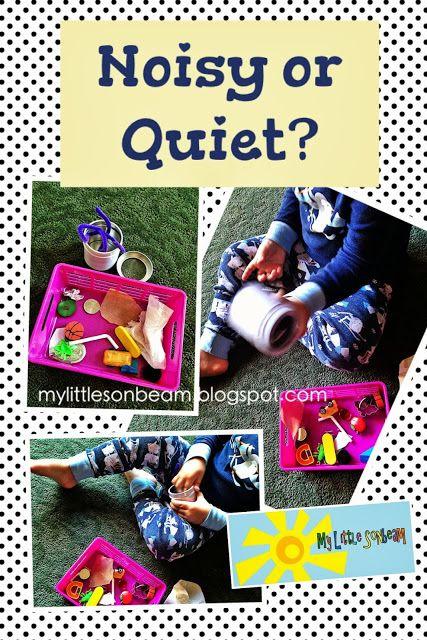 My Little Sonbeam: Game: Noisy or Quiet? Sounds, opposites, listening game, the five senses. Mylittlesonbeam.blogspot.com Homeschool preschool learning activities for 2,3,4 year olds. {Follow My Little Sonbeam on Facebook}
