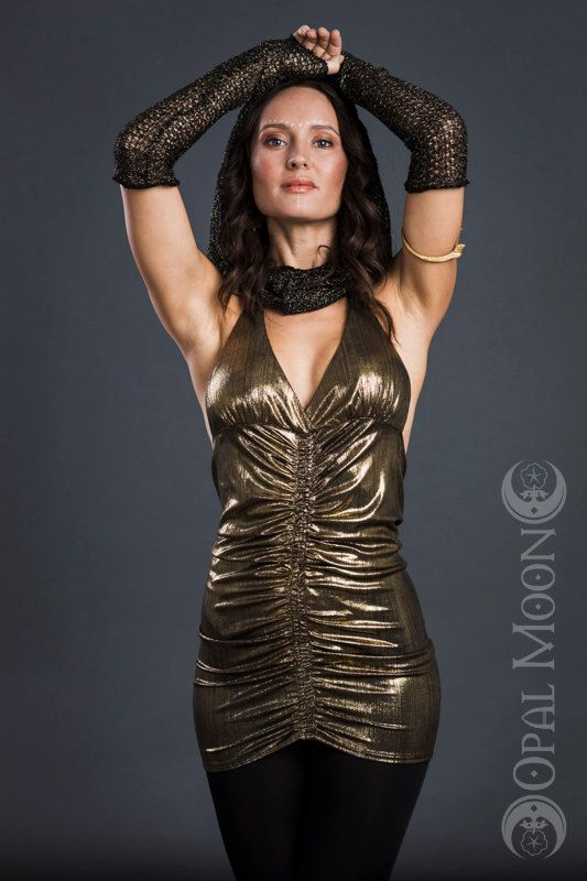 The Queen Cleopatra Gathered Goddess Halter Top in Metallic Gold or GoldDust (Size M, L, XL)