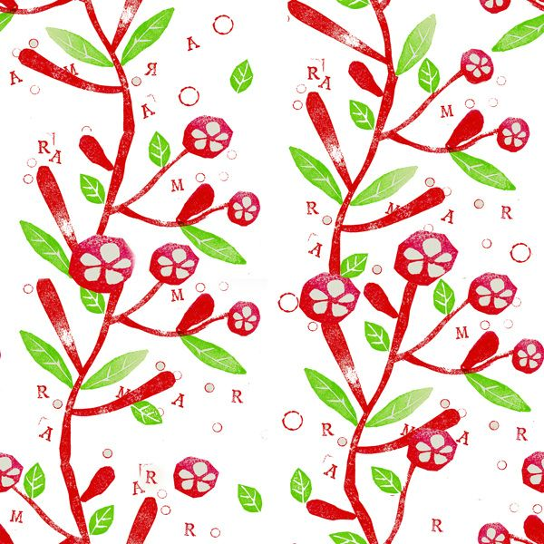 Textil pattern with ink stamps.Isabel Quiles