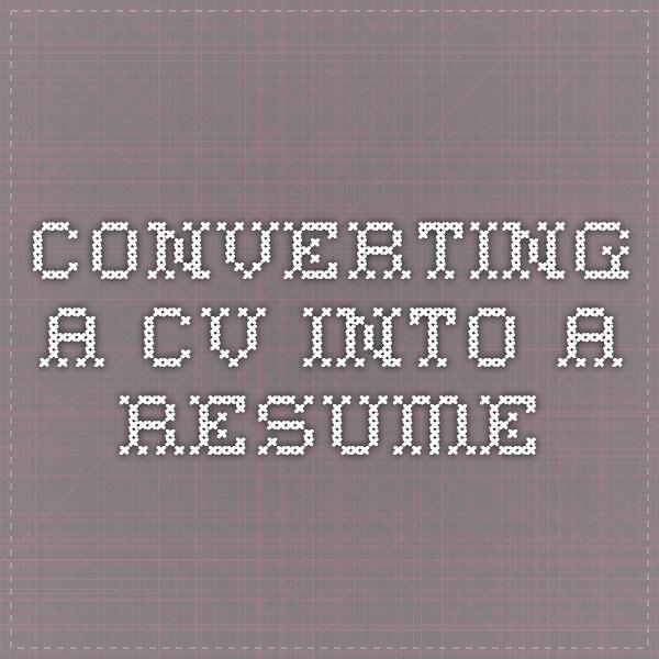 Converting a CV into a Resume