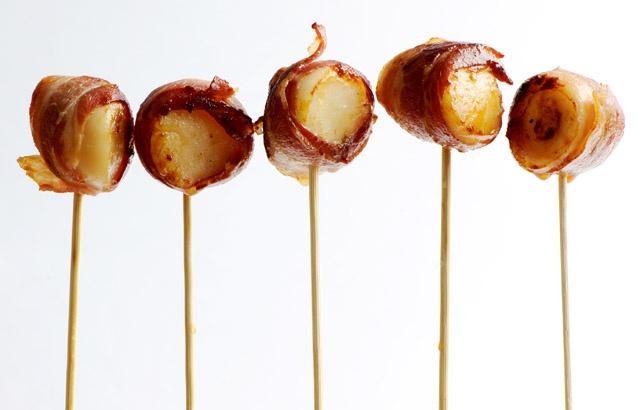 Scallop pops wrapped in bacon - Josh Eggleton