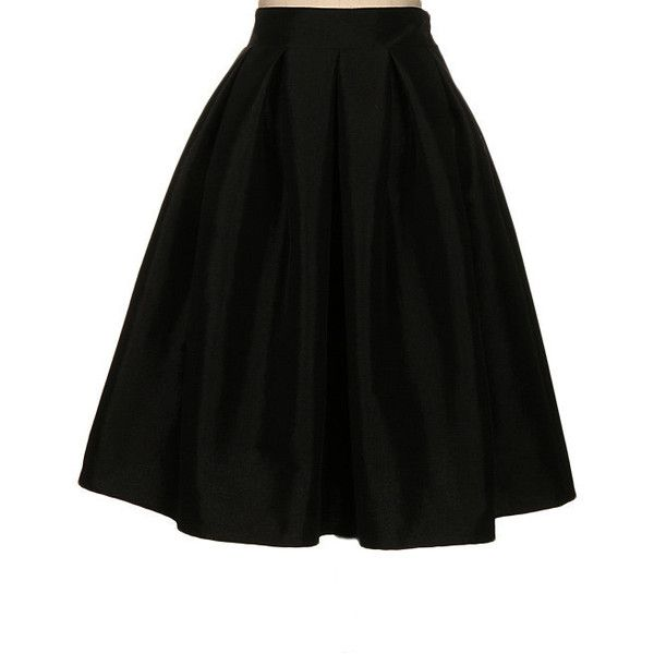 Fashionomics Black A-Line Skirt ($23) ❤ liked on Polyvore featuring skirts, bottoms, long a line skirt, a line skirt, long skirts and knee length a line skirt