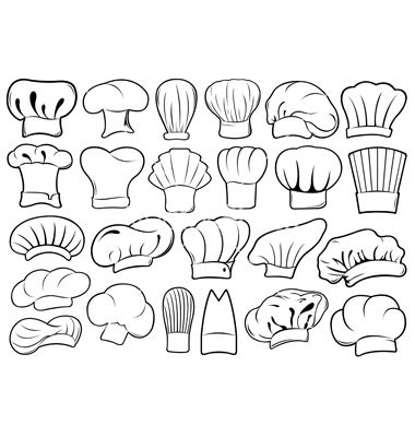 Set of different chef hats vector art - Download White vectors ...
