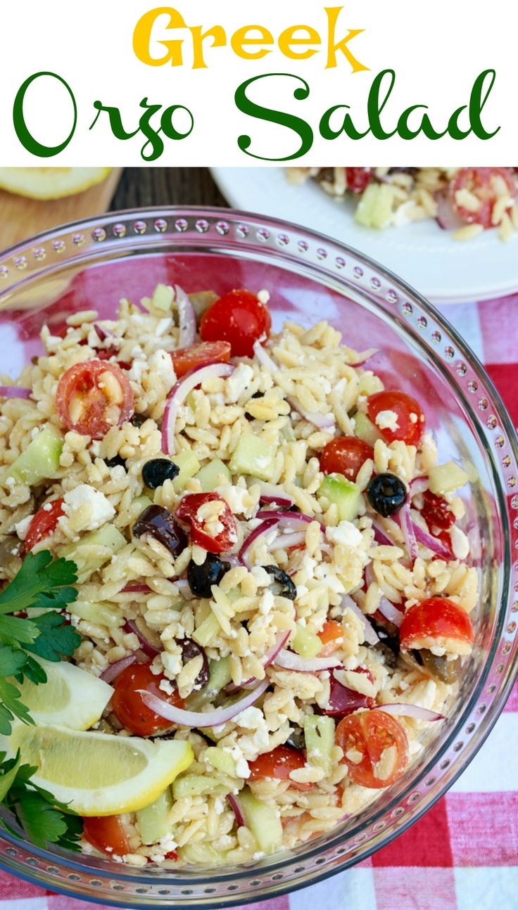 Orzo pasta tossed in your favorite Greek dressing along with tomatoes, cucumbers, red onions, olives, and feta cheese. A sure hit for your next cookout!
