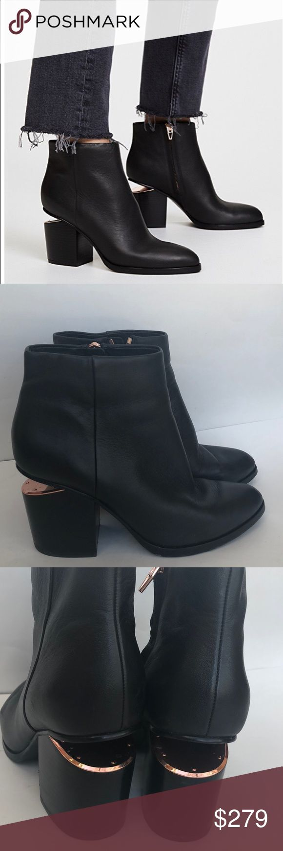 Alexander Wang Gabi Booties Black Rose Gold 36.5 Pre-owned authentic Alexander Wang Gabi booties in size 36.5. Current style and still full price online!! These are in great condition, tons of life left. There are normal signs of wear throughout and some marks on the heels. Please look at photos. No box. Alexander Wang Shoes Ankle Boots & Booties