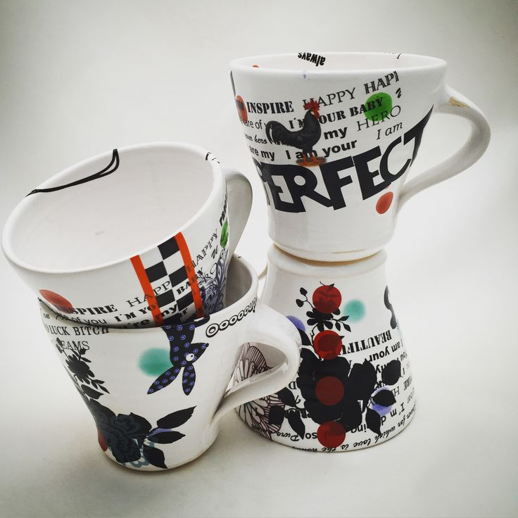 """streetware"" cups with decals mugs clay pottery"
