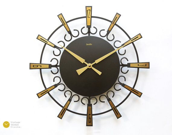 Mid Century Starburst ZENTRA Wall Clock - Germany Junghans Modern Atomic Space Age mcm 60s 70s