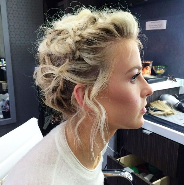 Red carpet hairstyle. braided updo - Julianne Hough. Celebrity hairstyle.
