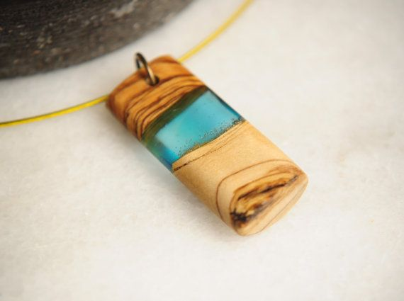 Greek Island Light Blue Olive Wood Necklace, Unique Handmade Pendant, Resin Pendant, Elegant Necklace, Gift For Her, One of a Kind
