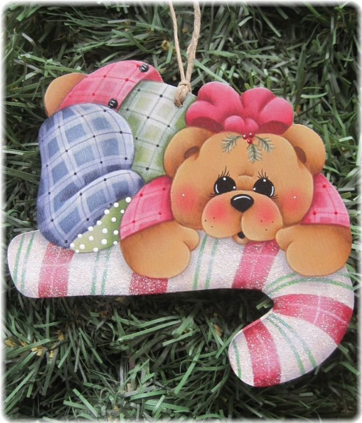 HP TEDDY BEAR Candy Cane ORNAMENT