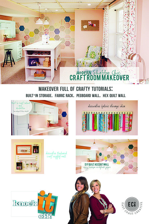 Craft Room Makeover filled with easy DIY Ideas!  Fabric Storage.  Craft Table.  Built-in Storage from reclaimed cabinets.  Hexagon Quilt Wall.  East Coast Creative.  Watch the episode on Knock It Off!