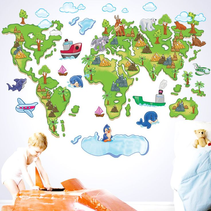 Beautiful Colour World Map Wall Stickers Removable Home Decor Kids Baby Nursery School Art Mural