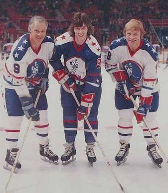 Toronto Toros' Wayne Dillon flanked by Mr. Hockey & the Golden Jet, c. 1972