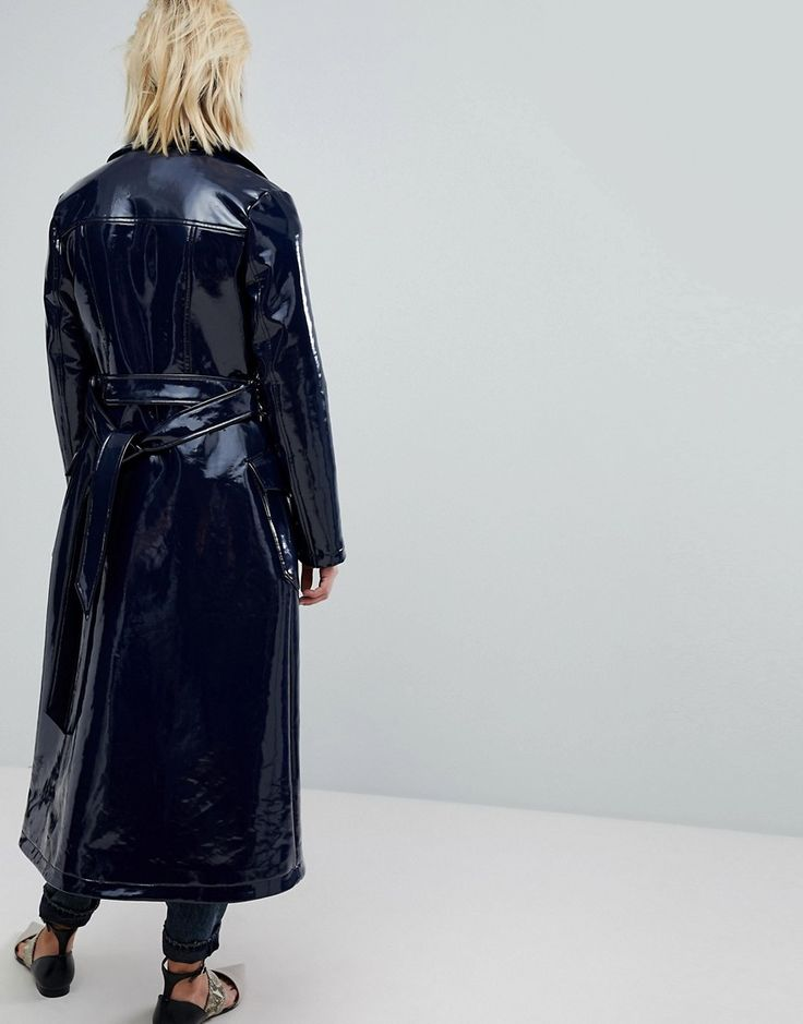Warehouse Patent Trench Coat - Blue