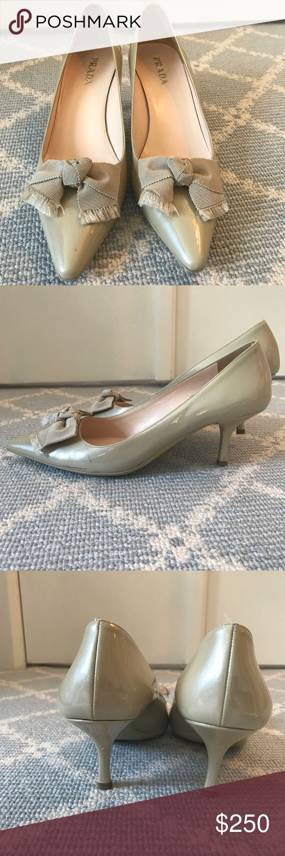 Selling this Taupe beige Prada shoes short heel size 38 1/2 on Poshmark! My username is: greenwichstyle. #shopmycloset #poshmark #fashion #shopping #style #forsale #Shoes