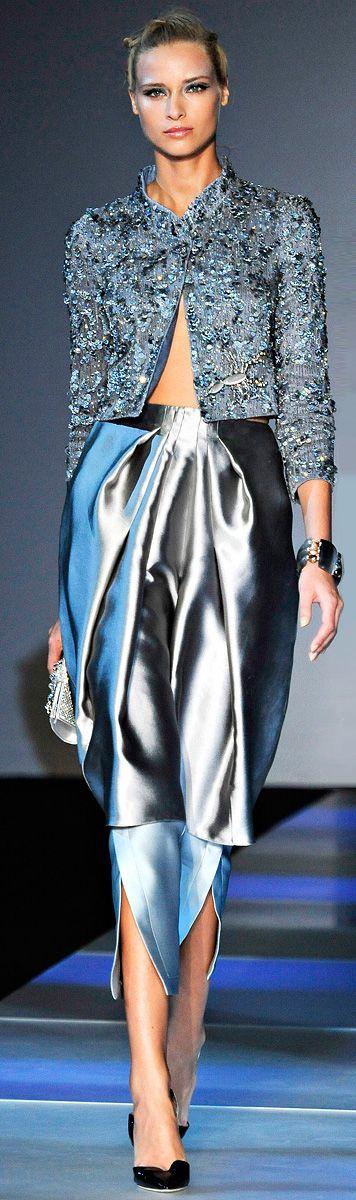 brocade jacket & satin skirt - G.Armani