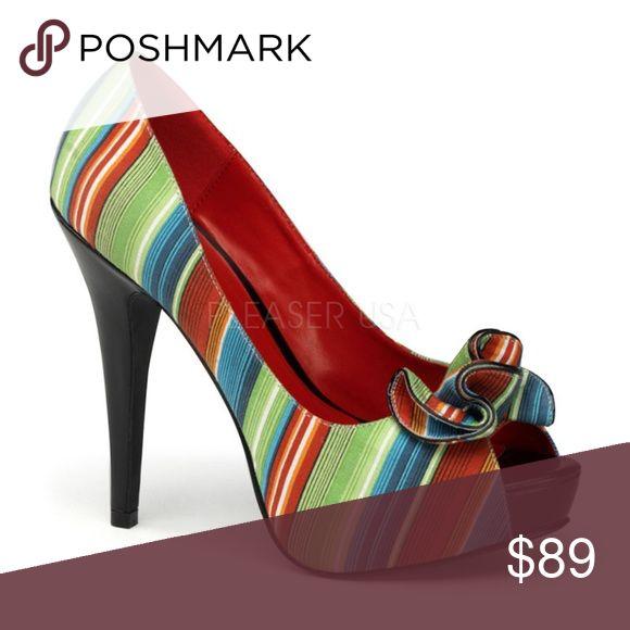 "Stripe Peep Toe Pin Up Shoes 5 Inch High Heels Stripe Peep Toe Pin Up Shoes 5 Inch High Heels  5"" Heel Shoes Heels"