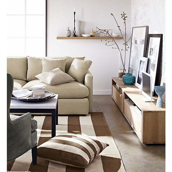 Lounge 93 Sofa Parsons Rectangular Coffee Table With Travertine Top Bristol Media Console Olin Rug I Crate And Barrel Living Rooms Pinterest
